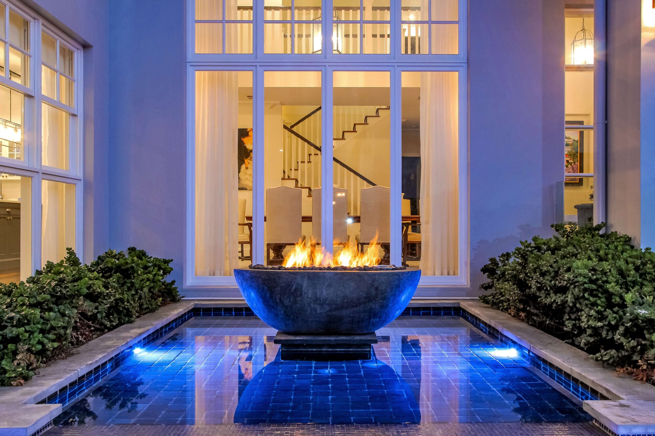 fire pit as a water feature in this Byron Bay pool design